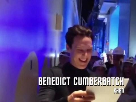 Watch Benedict Cumberbatch get stung by 'neutron cream' prank during Star Trek Into Darkness filming