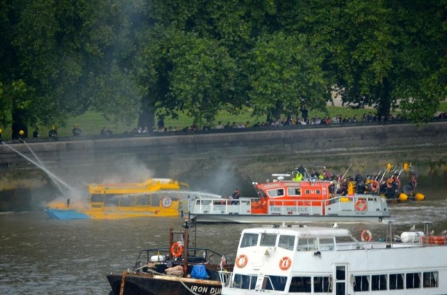 The Duck Tour boat caught fire at around midday with 30 passengers onboard. Nobody was hurt (Picture: Phil Beasley-Harling on Twitter - @pbeasleyharling)