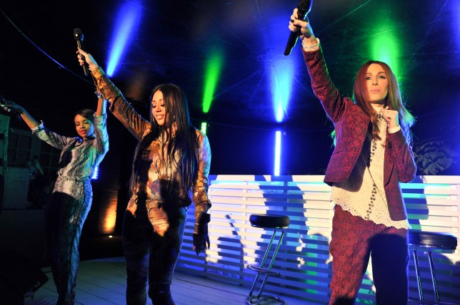 Headline act: Mutya, Keisha, Siobhan took to the stage at the Diesel Reboot London Fashion Week party at the Serpentine Gallery on Monday (Picture: FILE)