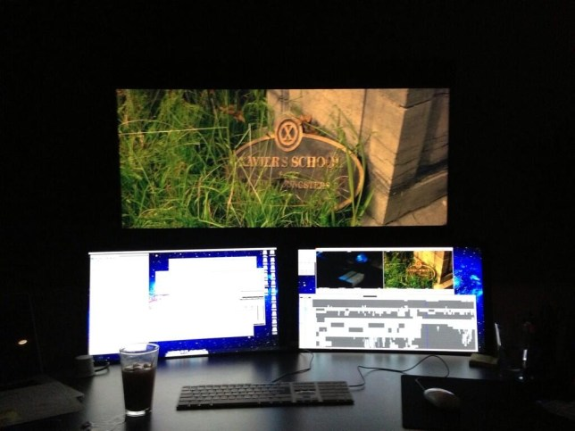 Looking super: Bryan Singer tweeted this picture while editing X-Men: Days of Future Past (Picture: Twitter)