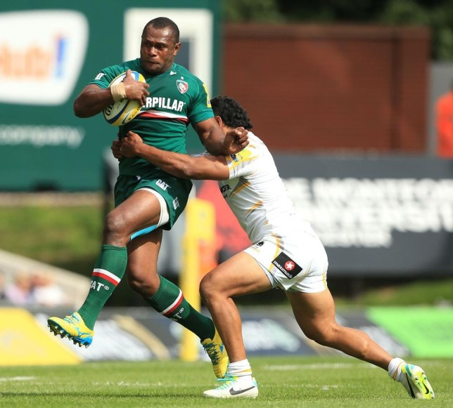 Leicester Tigers' Vereniki Goneva is tackled by Worcester Warriors' Ravai Fatiaki during the Aviva Premiership match at Welford Road, Leicester. Mike Egerton/PA Wire/Press Association Images