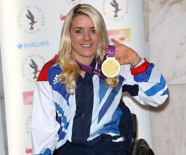 Josie Pearson shows off her London gold medal (Picture: Getty Images)
