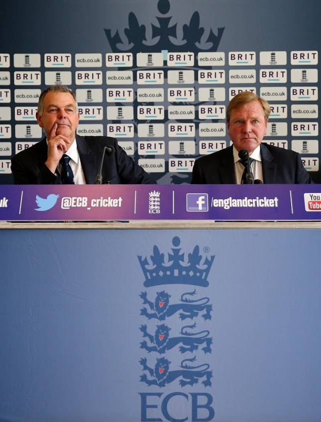 LONDON, ENGLAND - SEPTEMBER 23:  National selecter Geoff Miller and Managing director of English cricket Hugh Morris speak to the press during a ECB Press Conference for the Announcement of the Ashes Squad in the Long Room at the Lord's Cricket Ground on September 23, 2013 in London, England. Getty Images