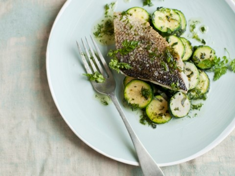 How to cook roast fish with dill butter and courgettes