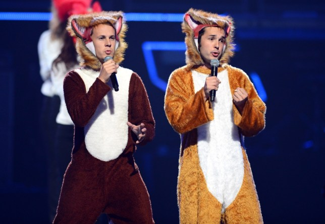 LAS VEGAS, NV - SEPTEMBER 20:  Bard Ylvisaker (L) and Vegard Ylvisaker of Ylvis perform during the iHeartRadio Music Festival at the MGM Grand Garden Arena on September 20, 2013 in Las Vegas, Nevada.  (Photo by Ethan Miller/Getty Images for Clear Channel)