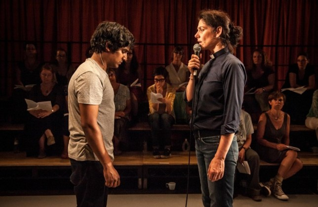 Rudi Dharmalingam and Neve McIntosh in The Events at The Young Vic (Picture: Steven Cummiskey)