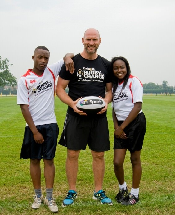 Dallaglio and two of the youngsters on the Foundation's Rugby for Change project