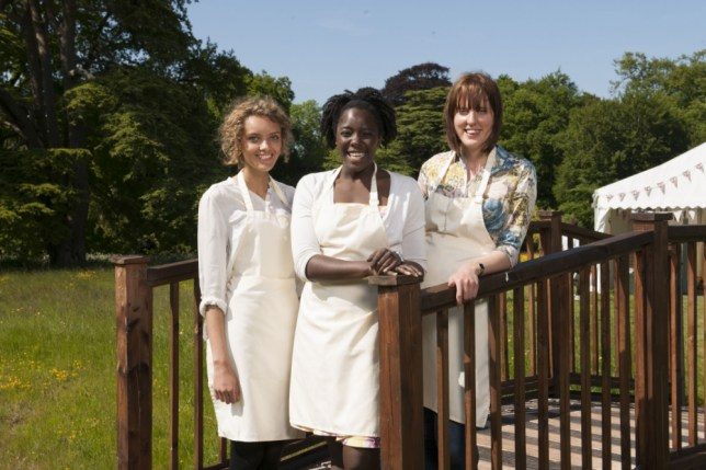 Programme Name: Great British Bake Off - TX: 22/10/2013 - Episode: n/a (No. n/a) - Embargoed for publication until: n/a - Picture Shows: (L-R) The finalists Ruby, Kimberley, Frances - (C) Love Productions - Photographer: Des Willie