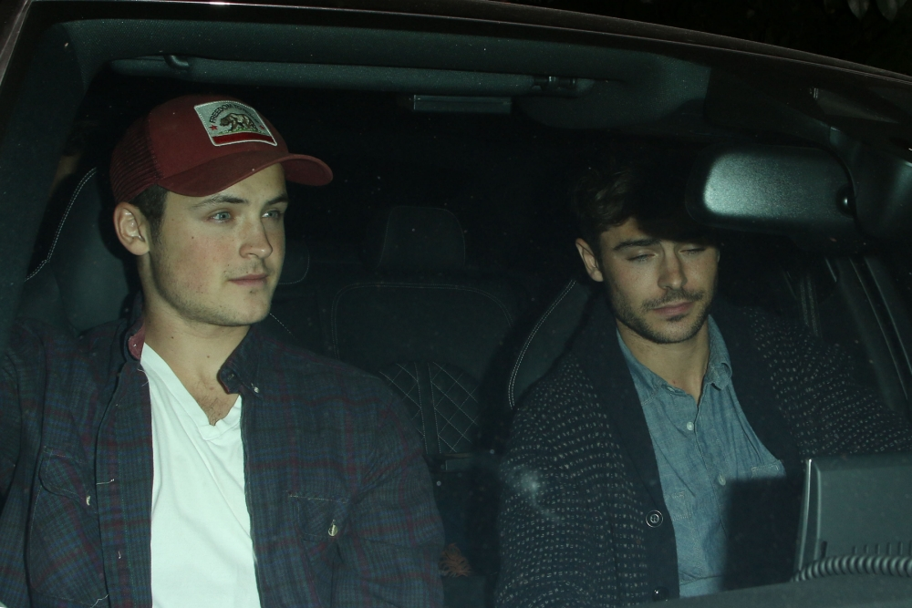 107061, LOS ANGELES, CALIFORNIA - Friday October 18, 2013. Zac Efron seen leaving Chateau Marmont with his brother Dylan Efron after celebrating his birthday in Los Angeles. Photograph: © David Tonnessen, PacificCoastNews **FEE MUST BE AGREED PRIOR TO USAGE** **E-TABLET/IPAD & MOBILE PHONE APP PUBLISHING REQUIRES ADDITIONAL FEES** LOS ANGELES OFFICE: +1 310 822 0419 LONDON OFFICE: +44 20 8090 4079