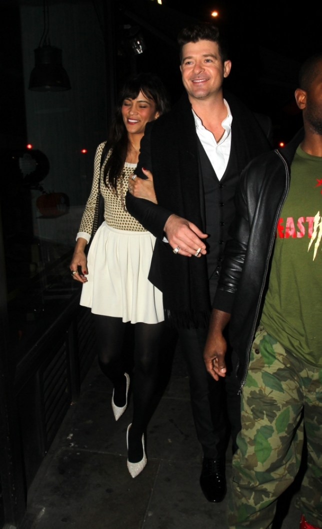 American singer Robin Thicke seen at Bouji's nightclub in west London, the star had performed live on the X Factor this evening. Robin's wife Paula Patton was slightly worse for wear on the way home and was walked out of the club the  <P> Pictured: Robin Thicke & Paula Patton <B>Ref: SPL633196  201013  </B><BR/> Picture by: W8 Media / Splash News<BR/> </P><P> <B>Splash News and Pictures</B><BR/> Los Angeles: 310-821-2666<BR/> New York: 212-619-2666<BR/> London: 870-934-2666<BR/> photodesk@splashnews.com<BR/> </P>