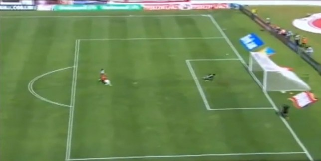 Jackson shows his skill with a tremendous lob... into his own net (Picture: YouTube)