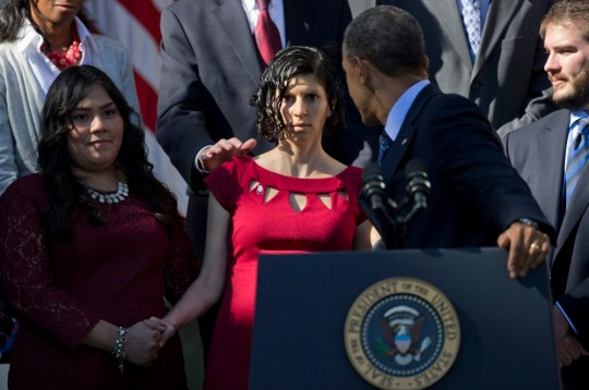 Barack Obama catches fainting pregnant woman during speech on Obamacare