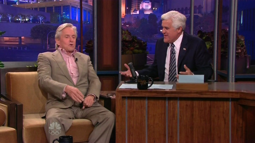 """22 October 2013 - Los Angeles - USA  **** STRICTLY NOT AVAILABLE FOR USA ***  Michael Douglas reveals his marraige to Catherine Zeta Jones is 'on the up and up' during appearance on The Tonight Show with Jay Leno. The Oscar winning star was appearing on the late night US chat show to promote his new movie Last Vegas when Leno asked him  how things were with his family. Douglas said he was 'very hopeful' that his relationship with the 44-year-old Welsh actress was 'on the up and up' When the talk show host asked Douglas how things were going with Zeta Jones he revealed: """"Good I hope. I've been away for a while but everything should hopefully be on the up and up."""" Douglas, who almost fell over as he walked out on the show but managed to stop himself tumbling at the last minute, also spoke about his tongue cancer and revealed his son Dylan, 13, wants to become an actor.    XPOSURE PHOTOS DOES NOT CLAIM ANY COPYRIGHT OR LICENSE IN THE ATTACHED MATERIAL. ANY DOWNLOADING FEES CHARGED BY XPOSURE ARE FOR XPOSURE'S SERVICES ONLY, AND DO NOT, NOR ARE THEY INTENDED TO, CONVEY TO THE USER ANY COPYRIGHT OR LICENSE IN THE MATERIAL. BY PUBLISHING THIS MATERIAL , THE USER EXPRESSLY AGREES TO INDEMNIFY AND TO HOLD XPOSURE HARMLESS FROM ANY CLAIMS, DEMANDS, OR CAUSES OF ACTION ARISING OUT OF OR CONNECTED IN ANY WAY WITH USER'S PUBLICATION OF THE MATERIAL.    BYLINE MUST READ : NBC/XPOSUREPHOTOS.COM   PLEASE CREDIT AS PER BYLINE *UK CLIENTS MUST CALL PRIOR TO TV OR ONLINE USAGE PLEASE TELEPHONE  44 208 370 0291"""