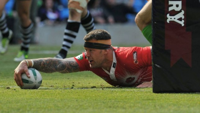 Salford City Reds' Jordan James scores the winning try during the Super League Magic Weekend at the Etihad Stadium, Manchester.