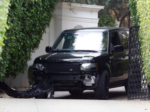 David Beckham crashes his Range Rover in LA – with Brooklyn in passenger seat