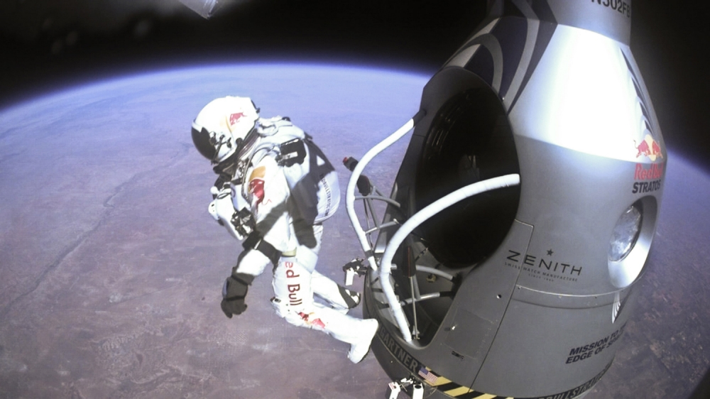 Pilot Felix Baumgartner of Austria jumps out of the capsule during the final manned flight for Red Bull Stratos on October 14, 2012 in space. Austrian Felix Baumgartner broke the world record for the highest free fall in history after making a 23-mile ascent in capsule attached to a massive balloon.     IN SPACE - OCTOBER 14:   In this handout image supplied by Red Bull Stratos,  (Photo by Red Bull Stratos/Content Pool via Getty Images)