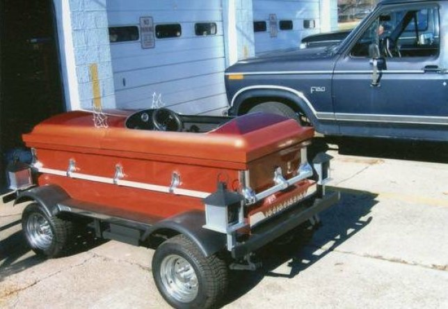 Coffin car put up for sale on Craigslist