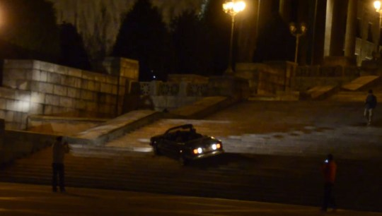 A man drives down the Rocky Steps. He claims that his brakes had failed (Picture: YouTube)