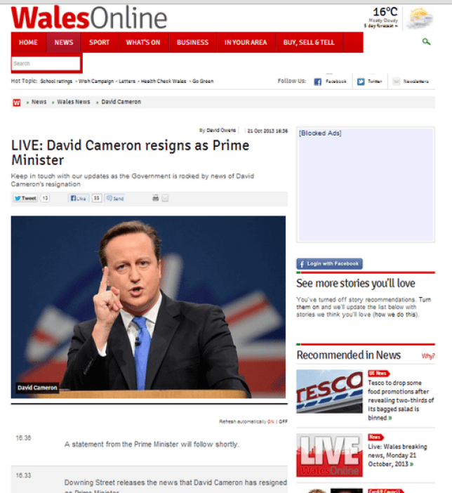 Whoops: Wales Online accidentally announced that the prime minister was resigning (Picture: Wales Online)