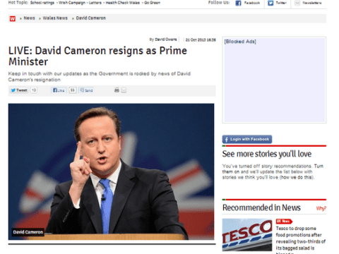 WalesOnline accidentally publishes 'David Cameron resigns' live blog