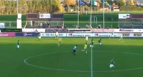 Reading youngster Liam Kelly does his best David Beckham impression for Ireland U19s – video