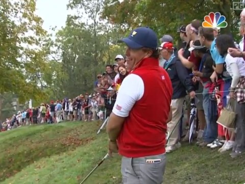 Phil Mickelson hits a tree and skips across the water in President's Cup miracle shot – video