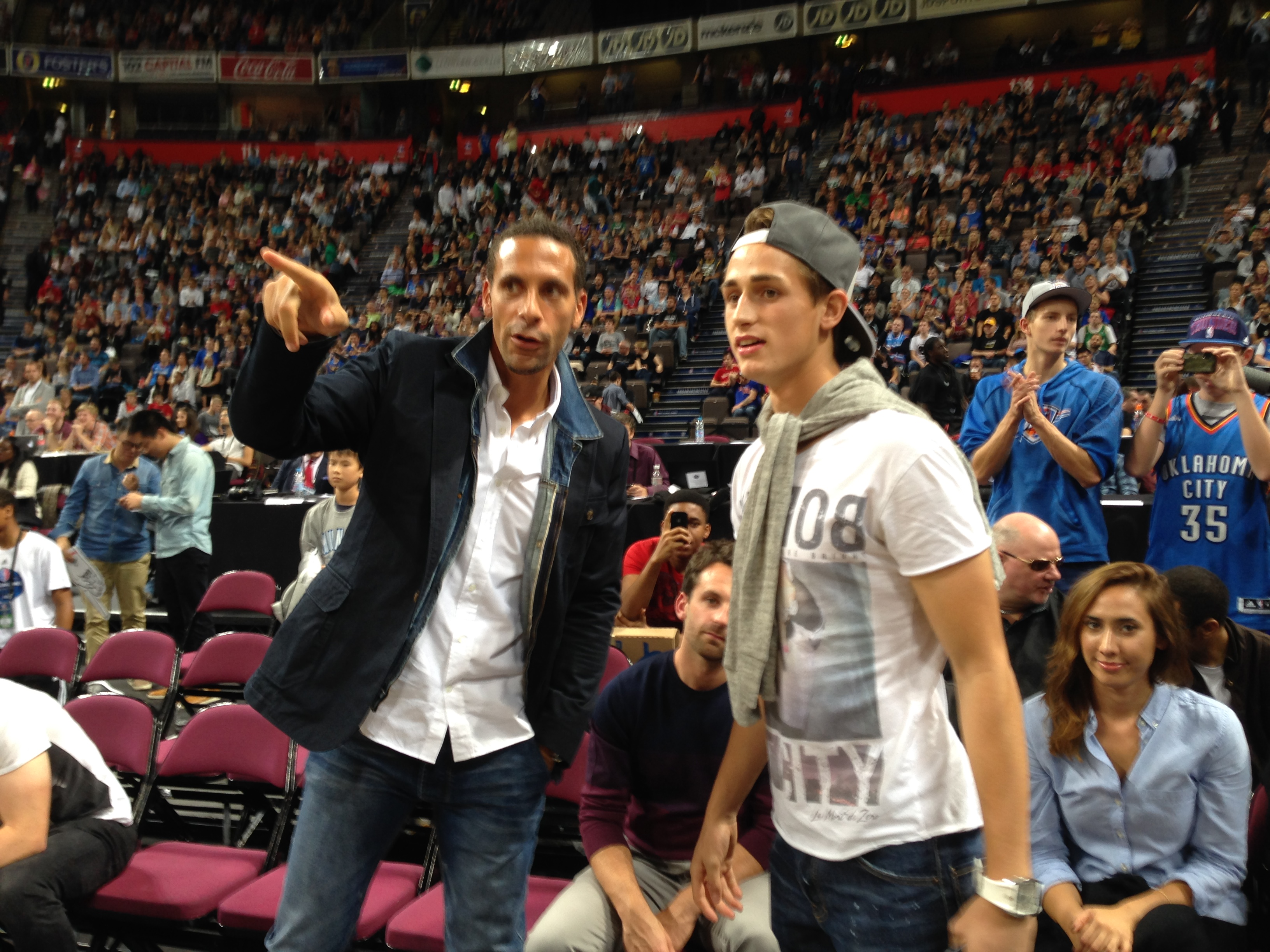 Manchester United stars Adnan Januzaj, Rio Ferdinand, David De Gea and Darren Fletcher soak up atmosphere at NBA pre-season game in Manchester