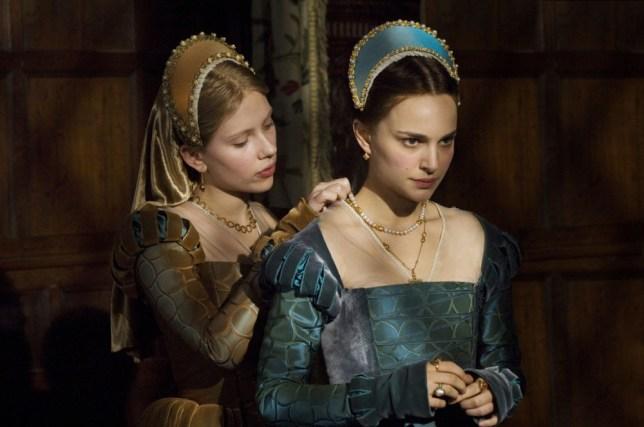 FILM... The Other Boleyn Girl (2007); Scarlett Johansson pictured as Mary Boleyn, with Natalie Portman as Anne Boleyn in a scene from the film directed by Justin Chadwick.