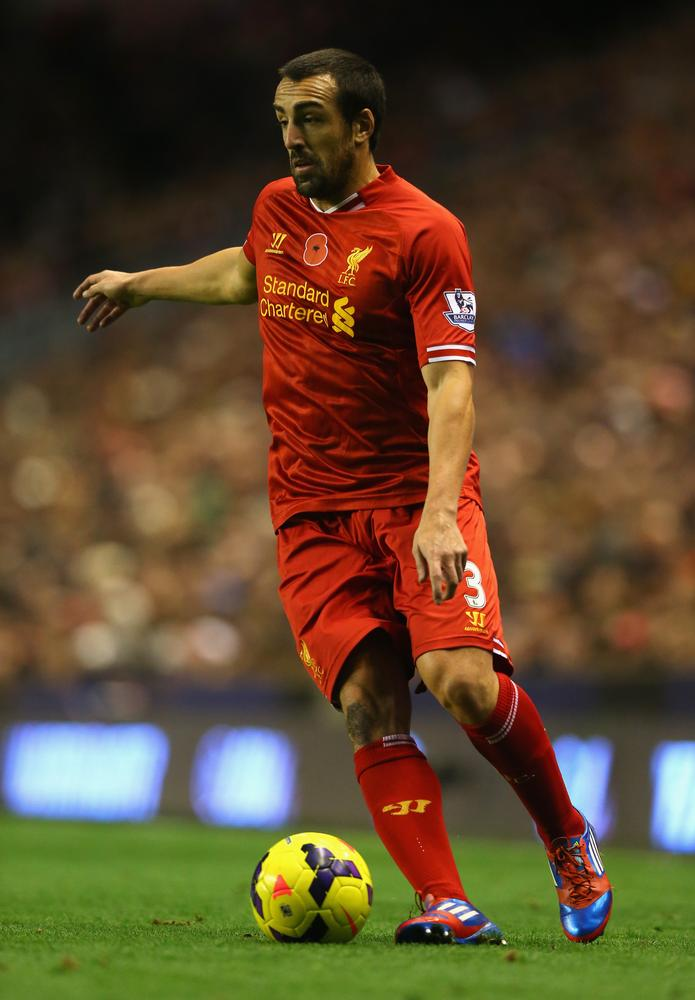 LIVERPOOL, ENGLAND - NOVEMBER 09: Jose Enrique of Liverpool in action during the Barclays Premier League match between Liverpool and Fulham at Anfield on November 9, 2013 in Liverpool, England. Alex Livesey/Getty Images