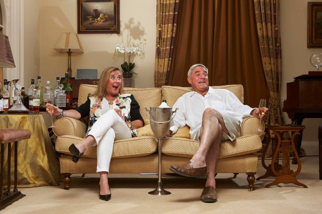 Steph and Dom prefer to have a few drinks to hand when watching TV (Picture: Channel 4)
