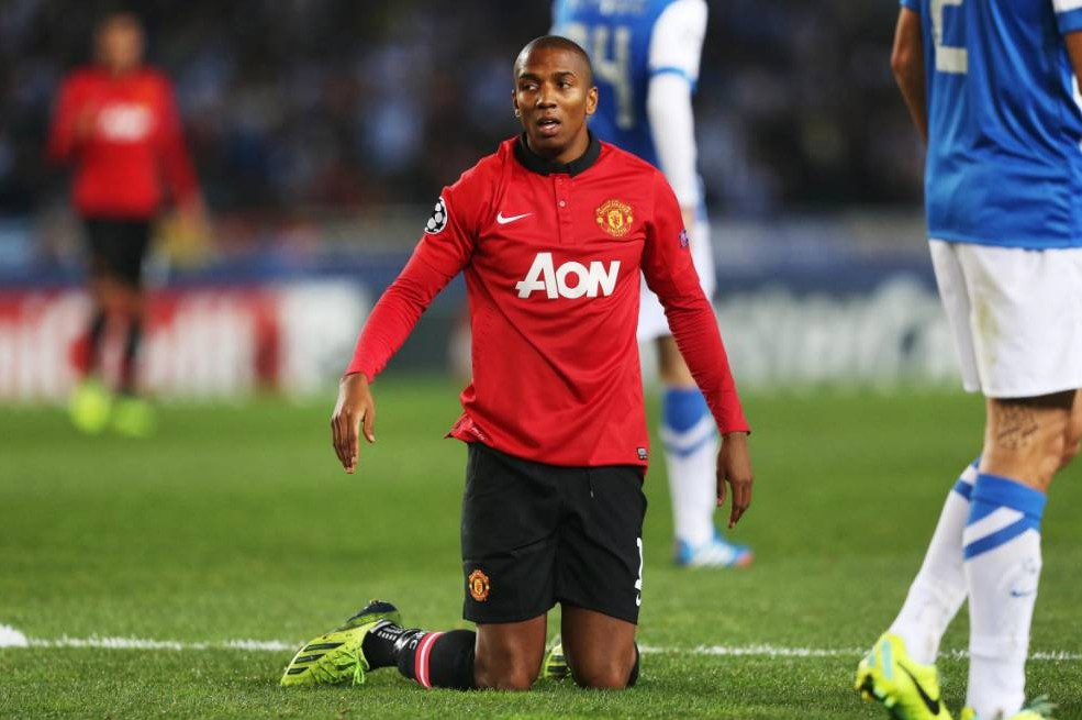 Football - Real Sociedad v Manchester United - UEFA Champions League Group Stage Matchday Four Group A - Anoeta Stadium, San Sebastian, Spain - 5/11/13  Manchester United's Ashley Young after being awarded a penalty  Mandatory Credit: Action Images / Peter Cziborra  Livepic  EDITORIAL USE ONLY.