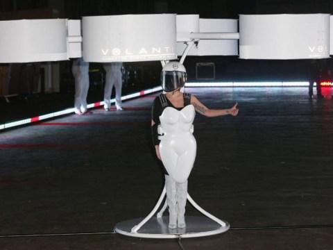 Lady Gaga unveils 'first flying dress' at ARTPOP album launch