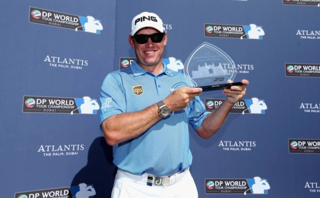 DUBAI, UNITED ARAB EMIRATES - NOVEMBER 11:  Lee Westwood of England poses with the trophy after winning the DP World Tour Championship Atlantis Golf Challenge at the Atlantis Hotel prior to the start of the DP World Tour Championship, Dubai on the Earth Course at Jumeirah Golf Estates on November 11, 2013 in Dubai, United Arab Emirates.  (Photo by Andrew Redington/Getty Images)