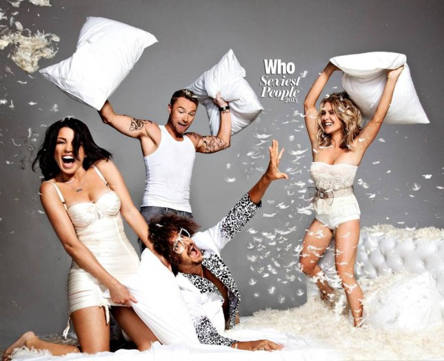 Dannii Minogue in pillow fight with X Factor Australia stars. Courtesy:  WHO magazine/ photographer Chris Colls. WHO on sale from November 14th in Australia