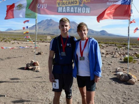 Mother's love on the run: Volcano marathon challenge for pair in memory of cancer-stricken son and brother
