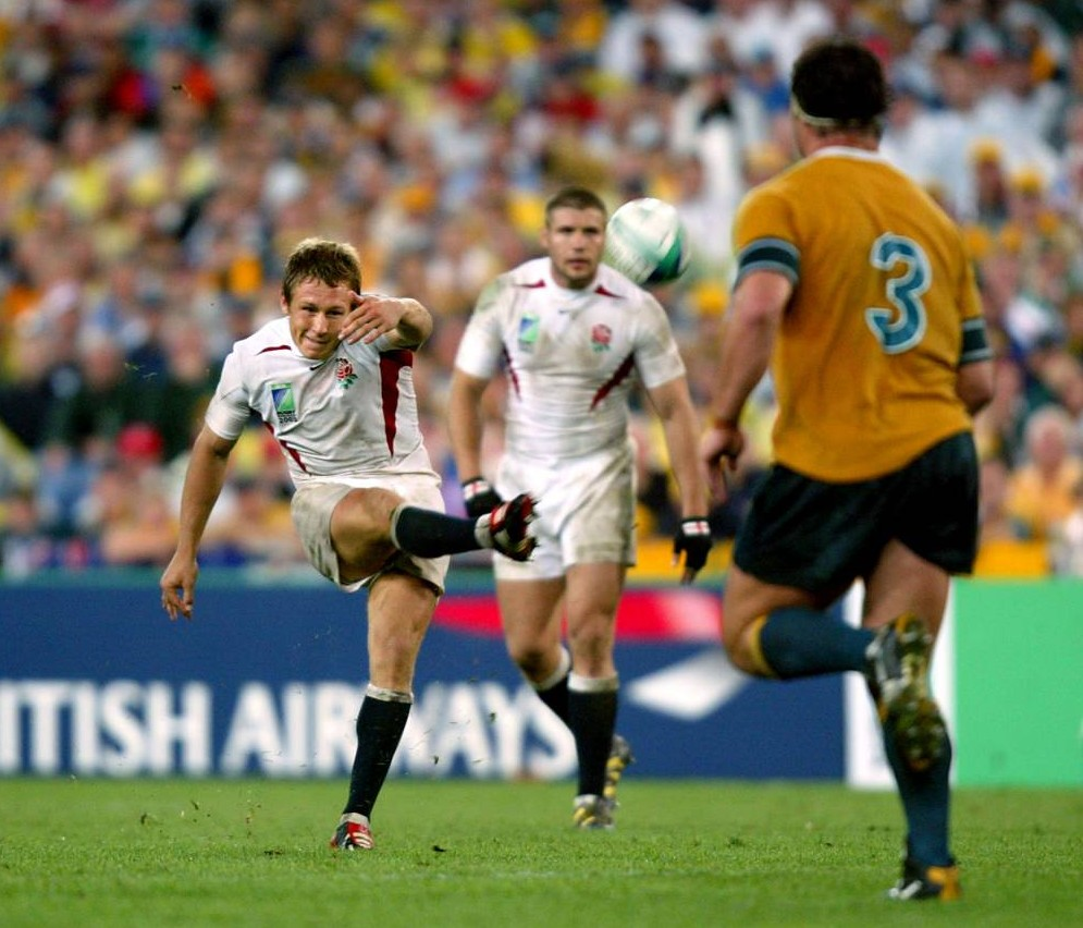 **EMBARGOED UNTIL 2200 THURSDAY NOVEMBER 21, 2013 ** File photo dated 22/11/2003 of England's Jonny Wilkinson kicking the winning drop goal to clinch the Rugby World Cup for England. PRESS ASSOCIATION Photo. Issue date: Thursday November 21, 2013. Ten years on and the captivating moment of sporting theatre delivered by Jonny Wilkinson on November 22, 2003 remains vivid to the most acclaimed of England's World Cup heroes. See PA story RUGBYU Wilkinson. Photo credit should read: David Davies/PA Wire.