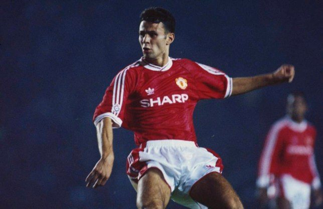 Manchester United left winger Ryan Giggs during a First Division match against Oldham Athletic at Old Trafford, Manchester, 28th August 1991. United won the match 1-0.(Photo by Bob Thomas/Getty Images)