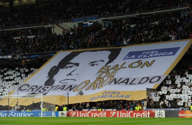 MADRID, SPAIN - NOVEMBER 27:  A giant banner reads 'Golden Ball for Cristiano Ronaldo' of Real Madrid CF during the UEFA Champions League group B match between Real Madrid CF v Galatasaray AS at Estadio Santiago Bernabeu on November 27, 2013 in Madrid, Spain.  (Photo by Denis Doyle/Getty Images)