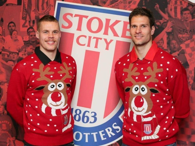 Ryan Shawcross and Asmir Begovic got their Christmas jumpers out early (Picture: Stoke City FC)