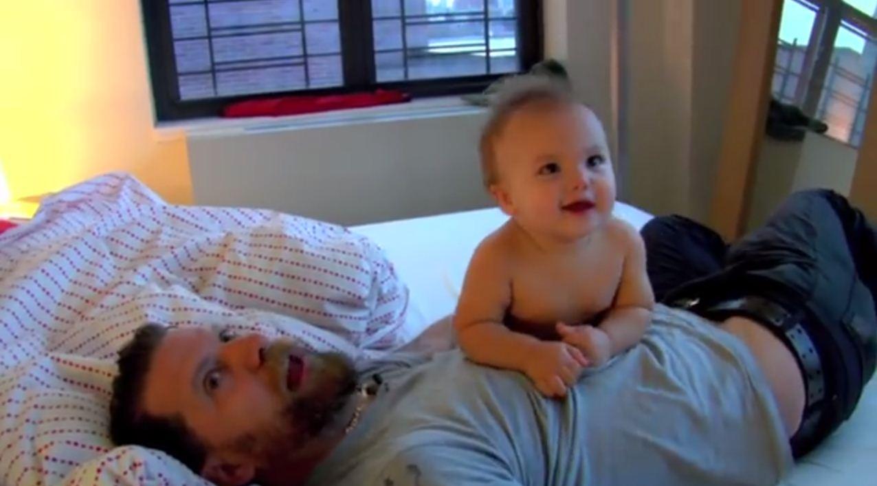 Man vs baby (Picture: Gavin McInnes/YouTube)