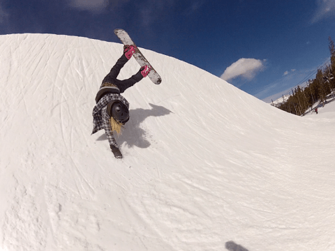 Professional snowboarder Katie Blundell gives some advice to those hitting the slopes