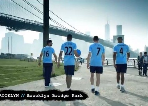 Watch Manchester City stars play keepy-uppy around the streets of New York – video