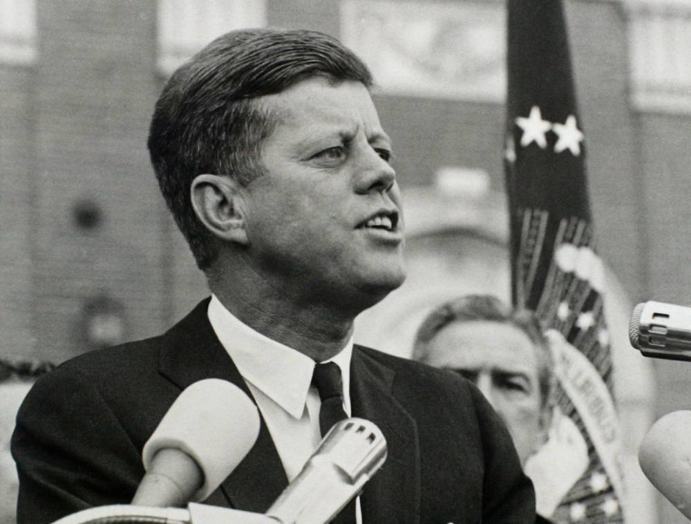 President John F. Kennedy delivers a speech at a rally in Fort Worth, Texas several hours before his assassination in this November 22, 1963 photo by White House photographer Cecil Stoughton obtained from the John F. Kennedy Presidential Library in Boston.  The 40th anniversary of Kennedy's assassination will be on November 22, 2003.  Texas Governor John Connely, who was seriously wounded in the assassination, looks over the president's shoulder at right. B&W ONLY   REUTERS/JFK Library/The White House/Cecil Stoughton/Handout