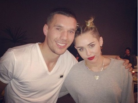 Lukas Podolski meets Miley Cyrus and gets over Arsenal's Manchester United defeat by hitting Cologne street party