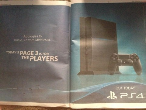 The Sun swaps out Page 3 girl for a PS4