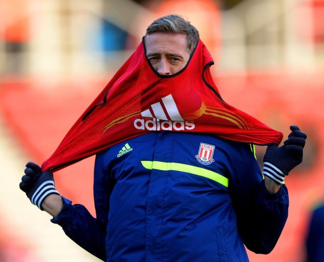 STOKE ON TRENT, ENGLAND - DECEMBER 21: Peter Crouch of Stoke City warms up prior to the Barclays Premier League match between Stoke City and Aston Villa at Britannia Stadium on December 21, 2013 in Stoke on Trent, England. Michael Regan/Getty Images