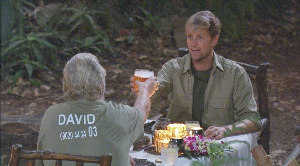 THIS IMAGE IS STRICTLY EMBARGOED FOR USE UNTIL 10:45 PM (UK TIME) ON SUNDAY 8TH DECEMBER 2013 EDITORIAL USE ONLY - NO MERCHANDISING  Mandatory Credit: Photo by ITV/REX (3413217ab)  David Emanuel and Kian Egan enojy their last meal together.  'I'm A Celebrity Get Me Out Of Here' TV Programme, Australia - 08 Dec 2013