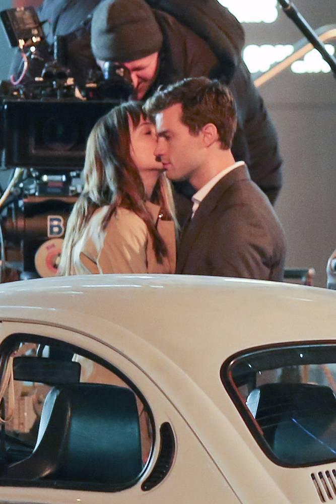 50 Shades of Grey: Dakota Johnson kisses Jamie Dornan on the cheek  (Picture: Splash)