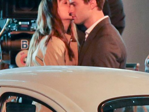 Jamie Dornan and Dakota Johnson share first kiss as they shoot Fifty Shades of Grey