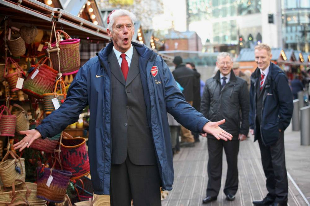 'Arsene Wenger' couldn't help but remonstrate in classic fashion when the decision for who got the first cup of Gluhwein went against him.   Picture    Jason Lock Photography +44 (0) 7889 152747 +44 (0) 161 431 4012 info@jasonlock.co.uk www.jasonlock.co.uk